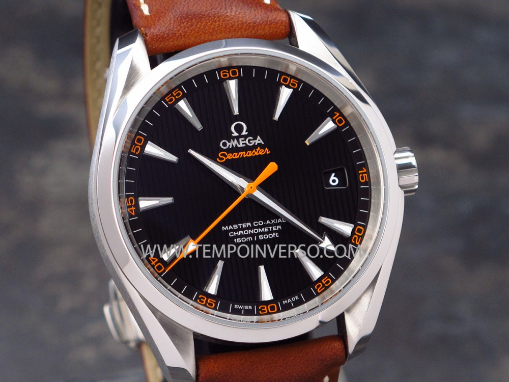 Tempo Inverso Omega Aqua Terra Black Dial Orange Hand